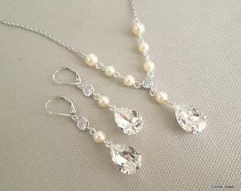 Bridal Pearl Necklace Set Ivory Swarovski Pearls Bridal jewelry Set Bridesmaid Necklace Wedding Pearl Necklace Set Swarovski LAYLA