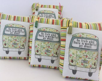 "HE.art by CC VW Bus Zippered Pouch, ""Be Truly Glad There Is Wonderful Joy Ahead"""