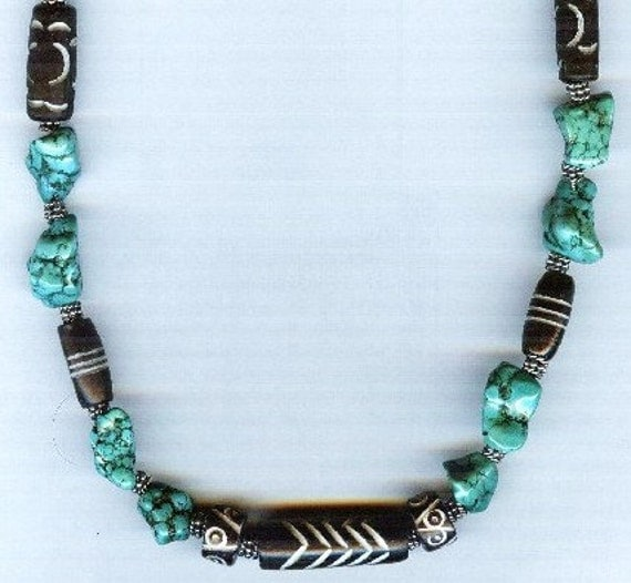 UNIQUE Quality Chunky Turquoise, Carved Bone and Bali Silver Beaded Bracelet or Necklace