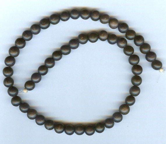 Stunning High Quality MATTE Black Ebony Wood Beaded Bracelet or Necklace