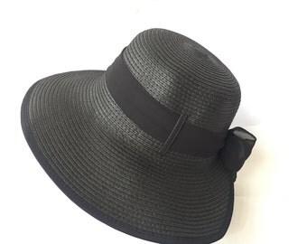 Adjustable Lady Straw Sun Hat 4inch brim (Black)