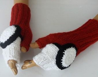 Knitting Pokeball Gloves,Knitted gloves,White and Red Fingerless,Pokemon Go Fans,Red,White,Black Fingerless Gloves