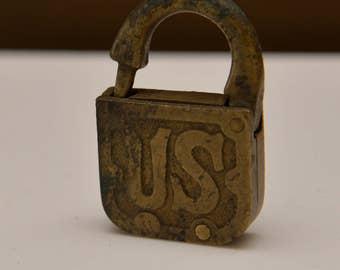 US  Army Lock WWI Padlock Brass Steampunk industrial Loft decoration Lock No key