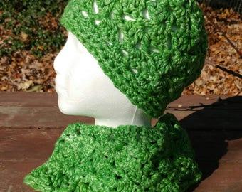 Hand Spun Hand Crochet Hat Cowl Set