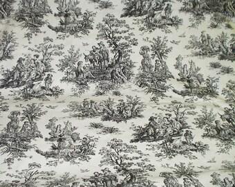 Toile Fabric Black White European Country Life Classic Decorator Fabric Home Decor DIY 1 Yard 517 fabric