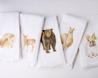 Choose Your Favorite   Woodland Animals   Burp Cloth Set   Gifts under 15