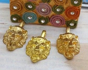 Vintage Heavy Brass 16mm Lionhead Pendants (4)