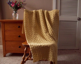 Soft Yellow Crocheted Throw Blanket Throw Afghan Lap, Adult, 57x39, One Solid Color Handmade, couch sofa, More colors @ CozyHomeCrochet
