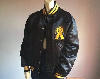 80s black and yellow striped snap up baseball bomber 1980s vintage psychiatric institute of Richmond SECURITY jacket medium M unisex