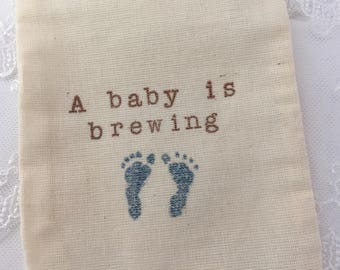 Baby Boy Bags Baby is Brewing Shower Blue Footprint Favor Bags Set of 10