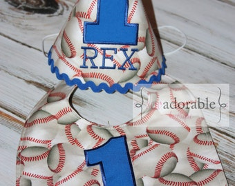 Boy's Baseball First Birthday Set, Smash Cake Set, Birthday Bib, Birthday Hat, Americana Baseball Theme, FREE PERSONALIZATION