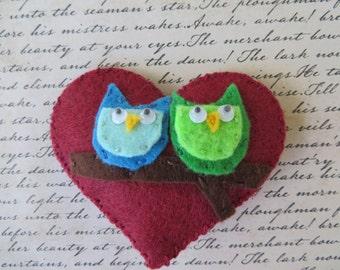 Owl Love Felt Heart Pin Or Hair Clip