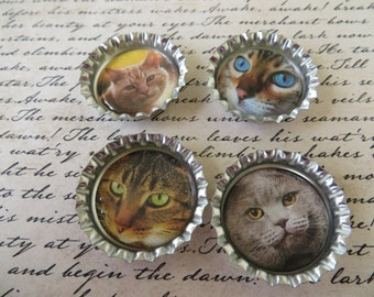 Cats II Bottle Caps Magnets Or Pins Set