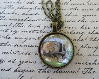 Vintage Look Skull Print Pendant On Antique Gold Toned Chain