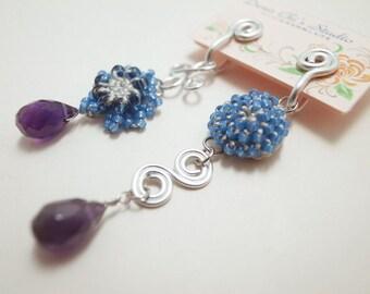 Crochet Lace Jewelry (Chic 2-d) Lace Earrings, Fiber Jewelry, Crochet Earrings, Clip Earrings