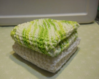 """Dishcloth Set of 2, Size 8"""" x 8"""",  Washcloth, Cotton Dishcloth, Knitted Dishcloth, Cotton Facecloth, Home Decor , Cleaning Cloth, Home Decor"""