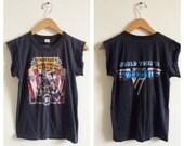 VAN HALEN Tour shirt- S/M, Womens Vintage Rock T Shirt, Tour Shirt, Rock & Roll, 1981, World Tour