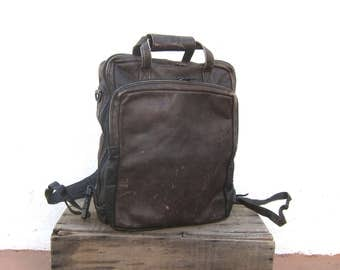 90s Distressed Chocolate  Brown Leather Backpack Modernist Minimalist Travel Laptop Bag