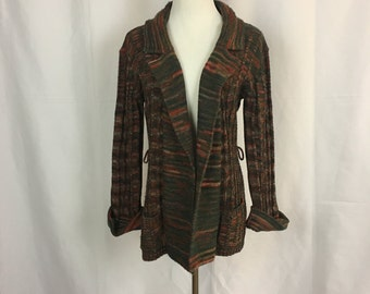 Vintage Multi-Color Knit Cardigan by Queens Way to Fashion