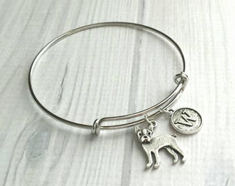 Boston Terrier Bracelet - silver bangle adjustable double loop pet dog charm - personalized letter initial monogram - American Gentleman