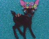 Flower Deer Handmade Perspex Brooch - Dark Brown