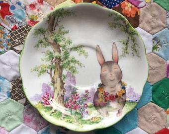 Australiana Bunny Scenic Vintage Illustrated Plate
