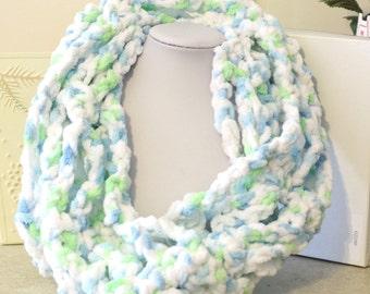 Blue, Green, and White Handmade Crochet Cowl Chunky Yarn One of a Kind scarf