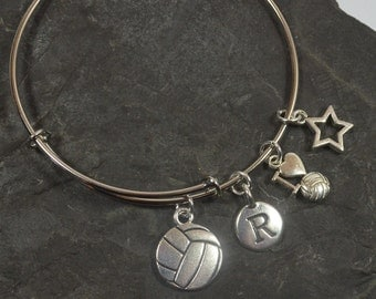"""Personalized """"I Love Volleyball"""" Bracelet - Expandable Silver Bangle Bracelet With 4 Charms (b-012)"""