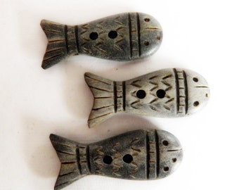Carved Wood  Fish Buttons Set of 3