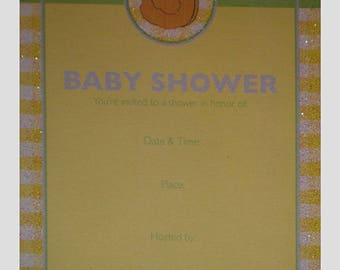 Yellow Duck Glittered Baby Shower Party Invitations w/ Envelopes