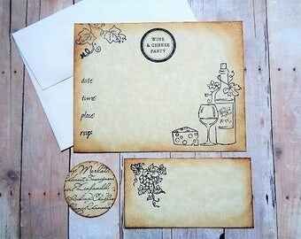 Wine and Cheese Party Invitations Place Cards Envelope Seals Rustic Vineyard Garden Party Bridal Shower Girl's Night Wine Tasting Invite Set