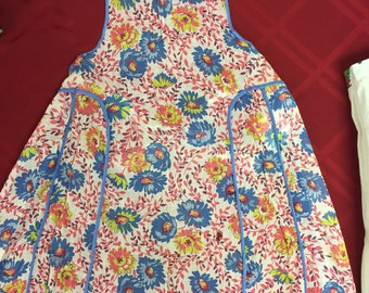 Vintage Printed Chiffon Full Length Apron, Pink & Blue Floral with Blue Trim.