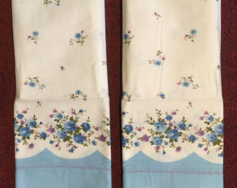 2 Vintage Printed Pillow Cases, Perfect for Repurposing into Craft Projects!