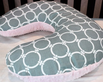 Sale! Gray Linked Circles Nursing Pillow Cover
