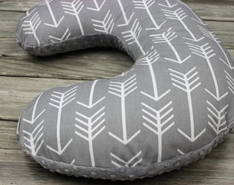 Gray and White Arrows Nursing Pillow  Cover - Choose Your Minky Color