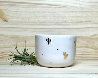Porcelain Bowl with Gold Luster Cactus Decorations