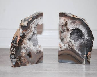 SALE: gorgeous split amethyst geode bookends