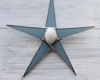 Which Came First? Egg and Chick and Star- 9 inch art glass star with silver baby chick and quartz egg center