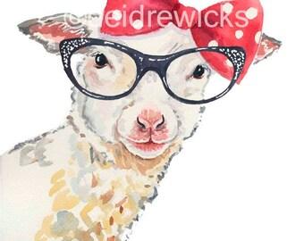 Lamb Watercolor Painting - 8x10 PRINT, Sheep Watercolour, Retro Glasses, Nursery Art, Animal Painting