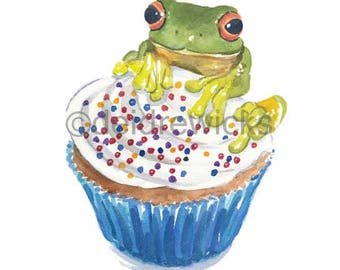 Frog Watercolor - 8x10 Painting PRINT, Frog Art, Cupcake Watercolour, Tree Frog, Kitchen Art
