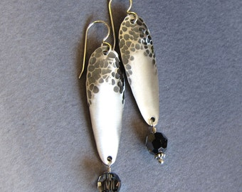 Hammered sterling silver earrings Long antiqued metal dangles Metalwork jewelry Crystal drops Exclamation marks Niobium or silver wires