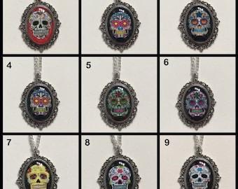 Sugar Skull Cameo Necklace