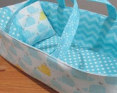 Doll Carrier, Aqua Whale with Chevron Lining, 14 Inches Long, Toddler Doll Basket