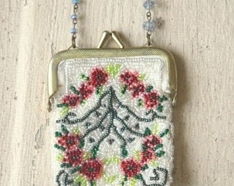 Vintage Beaded Coin Purse Necklace
