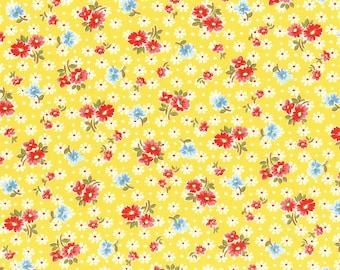Flower toss on yellow from the Old New 30's Spring 2017 collection by Lecien - 31524L-50