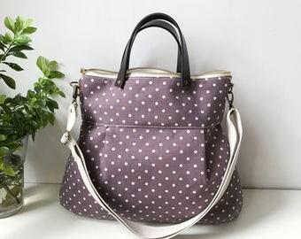SALE-2 way Cross Body Bag /Fall Messenger Bag / Diaper bag / Handbag / Tote / Leather straps / Women messenger / Travel bag