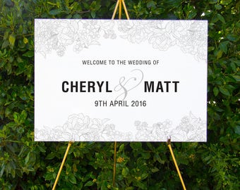 Classic floral wedding welcome sign | Printable wedding signage