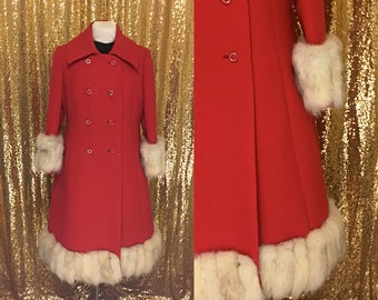 Vintage Red Princess Coat // 1960s Fox Fur Winter Coat // Christmas Holiday Fashion // by Housemans Grand Rapids