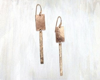 Dangling Hammered Rectangles Earring, Plumb Earring