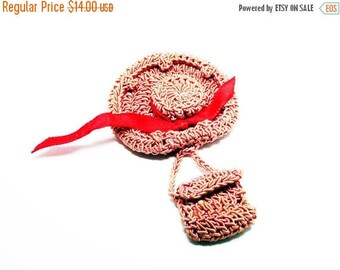Crocheted Hat & Purse Pin - Hand Crocheted Vintage Brooch - Pink Crochet Thread - Red Ribbon Hat Band - Cottage Chic - Fashion Pin - 1940s